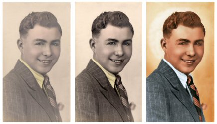 an image of a 1940's gentleman in three stages of repair and colourisation